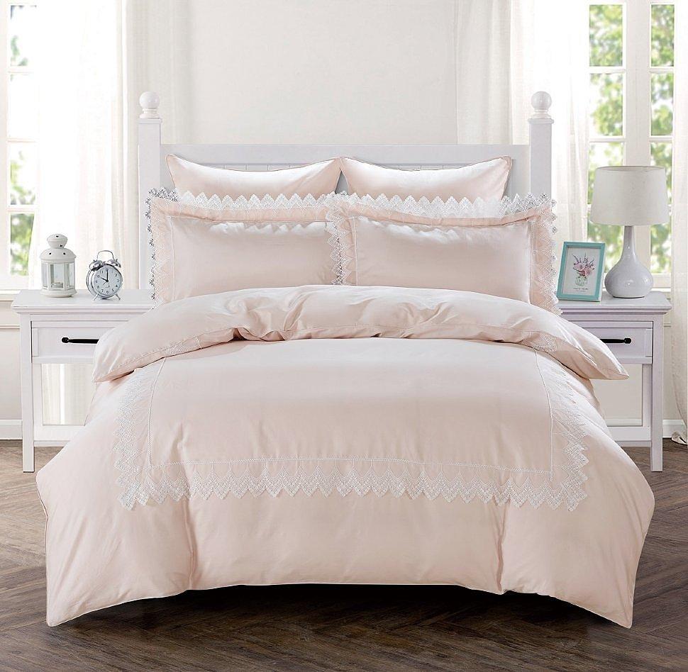 Комплект постельного белья Karna сатин с гипюром Neli пудра
