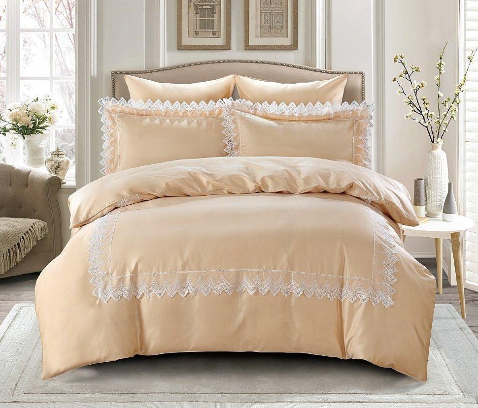 Комплект постельного белья Karna сатин с гипюром Neli шампань