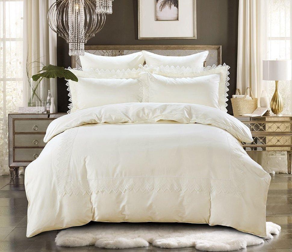 Комплект постельного белья Karna сатин с гипюром Neli кремовый