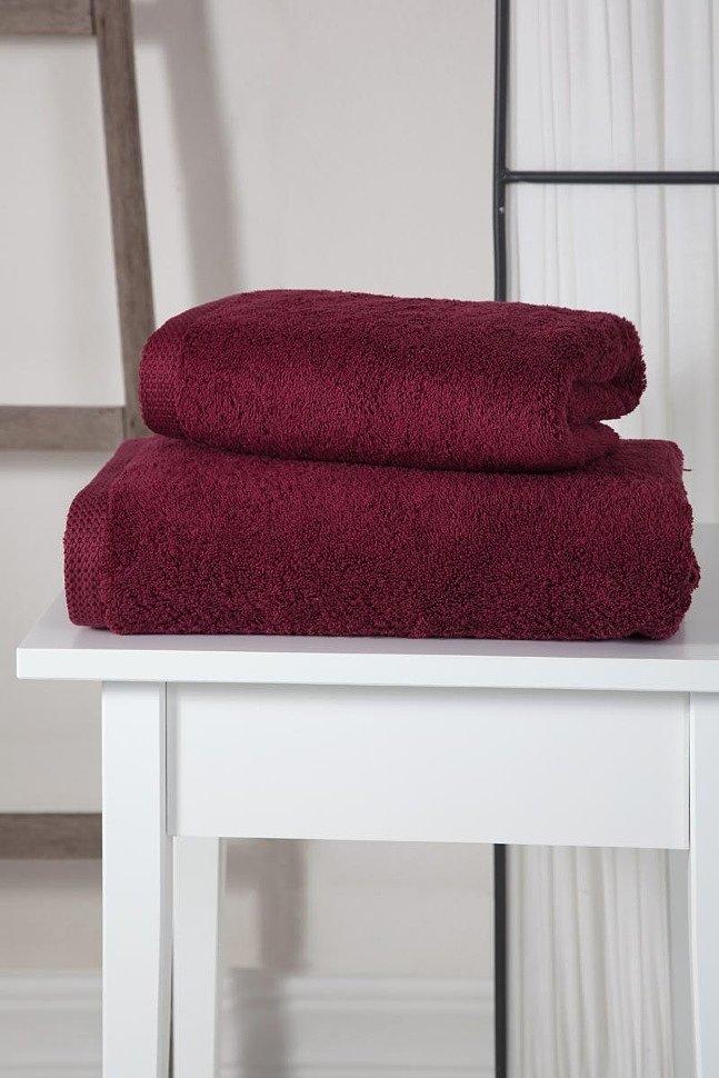 Полотенце махровое с жаккардом Karna Apollo бордовый