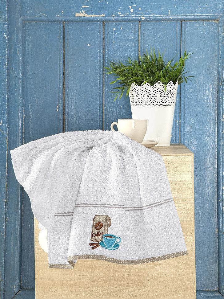 Кухонное махровое полотенце Karna Breakfast белый