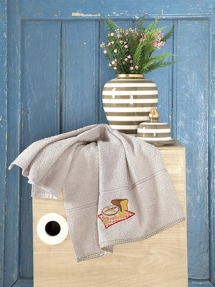Кухонное махровое полотенце Karna Breakfast бежевый