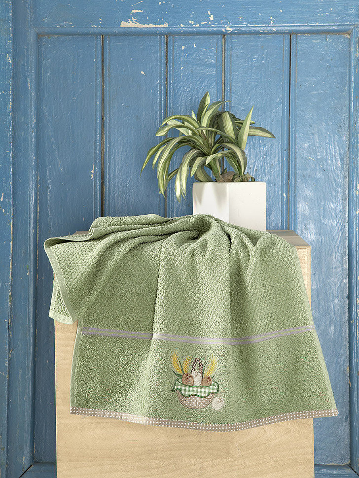 Кухонное махровое полотенце Karna Breakfast зеленый