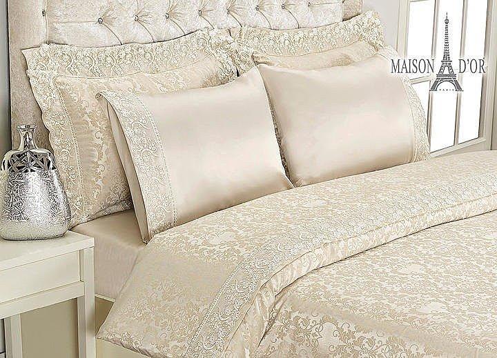 Комплект постельного белья Maison D'or Bamboo с гипюром бежевый