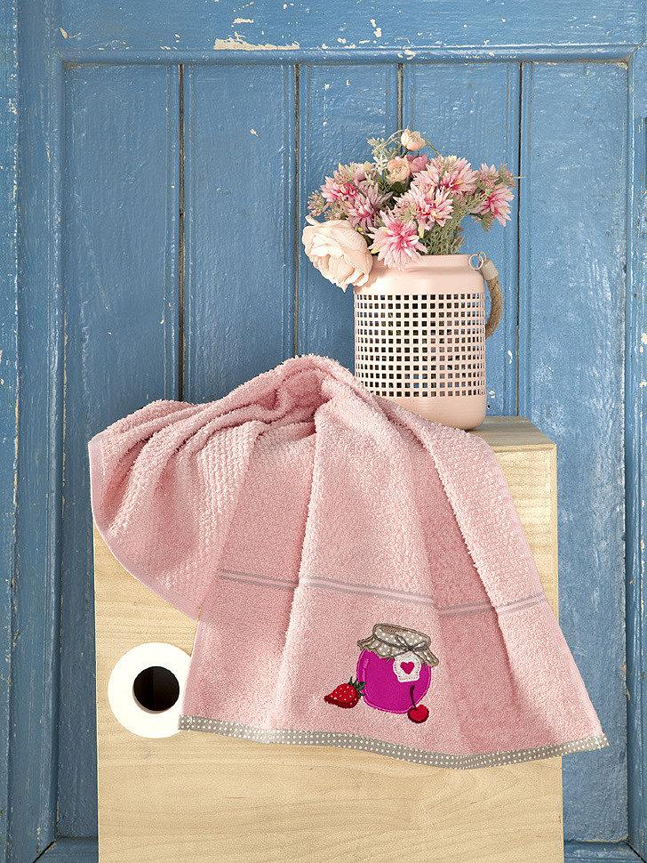 Кухонное махровое полотенце Karna Breakfast абрикосовый