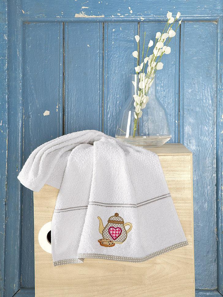 Кухонное махровое полотенце Karna Breakfast кремовый