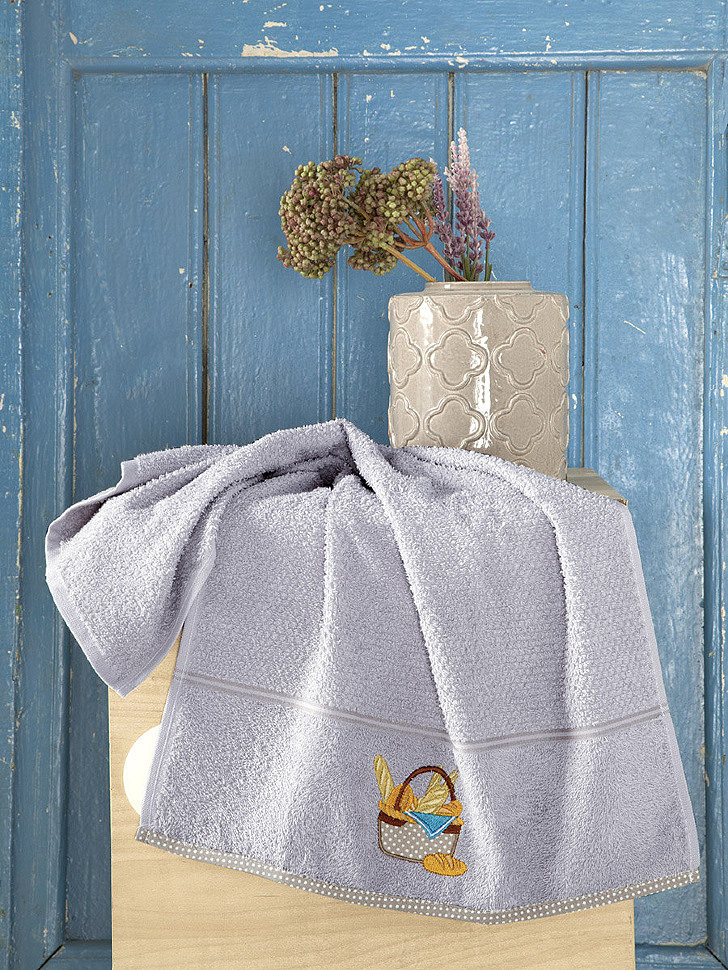 Кухонное махровое полотенце Karna Breakfast серый