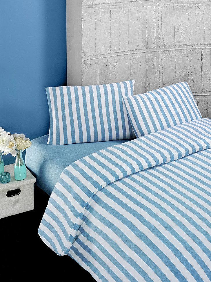 Комплект постельного трикотажного белья Karna Melan на резинке бирюзовый