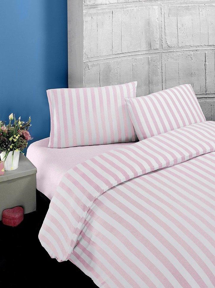 Комплект постельного трикотажного белья Karna Melan на резинке пудра