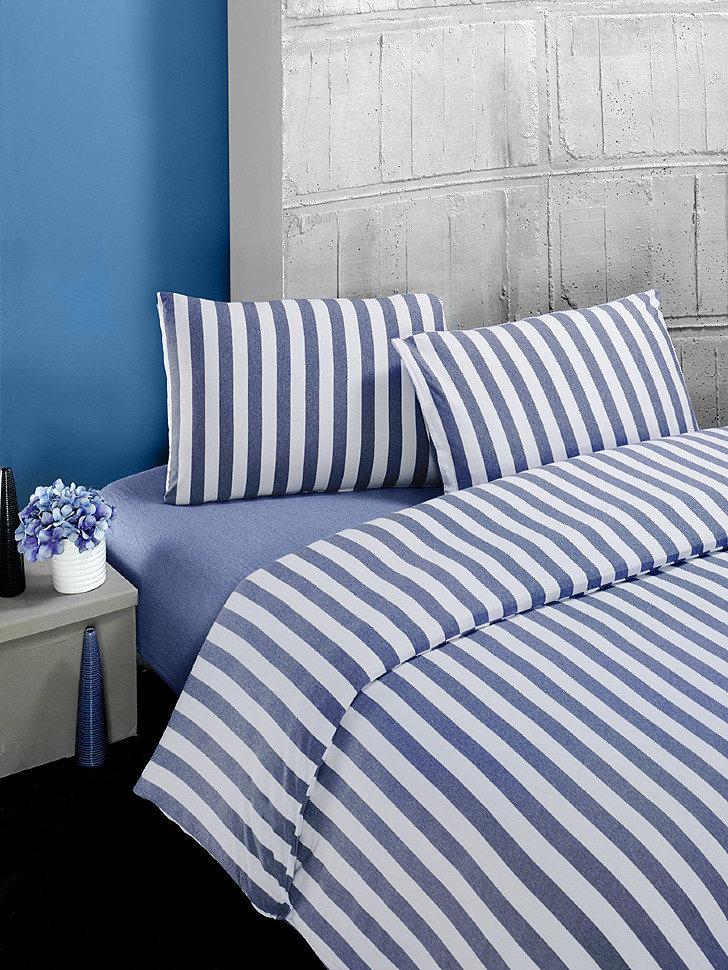Комплект постельного трикотажного белья Karna Melan на резинке голубой