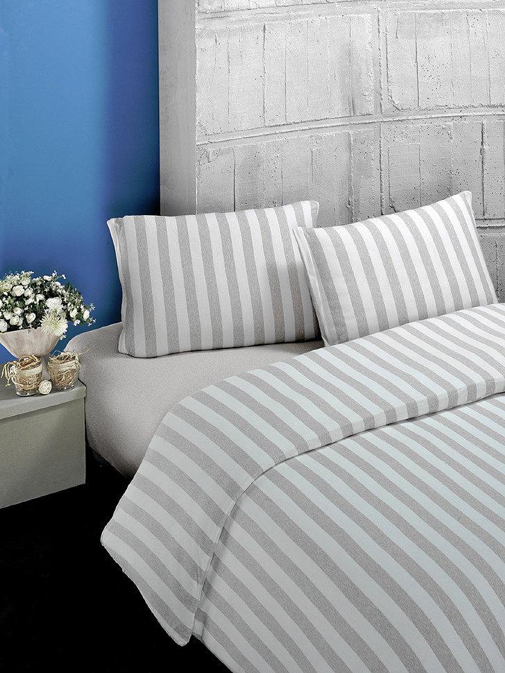 Комплект постельного трикотажного белья Karna Melan на резинке бежевый