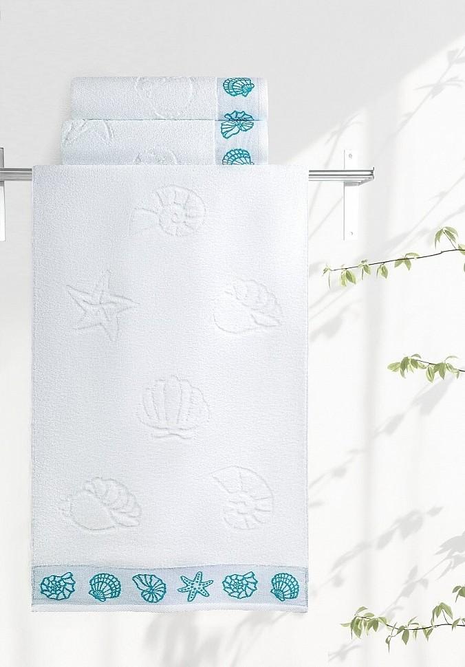Полотенце махровое Ракушки белый