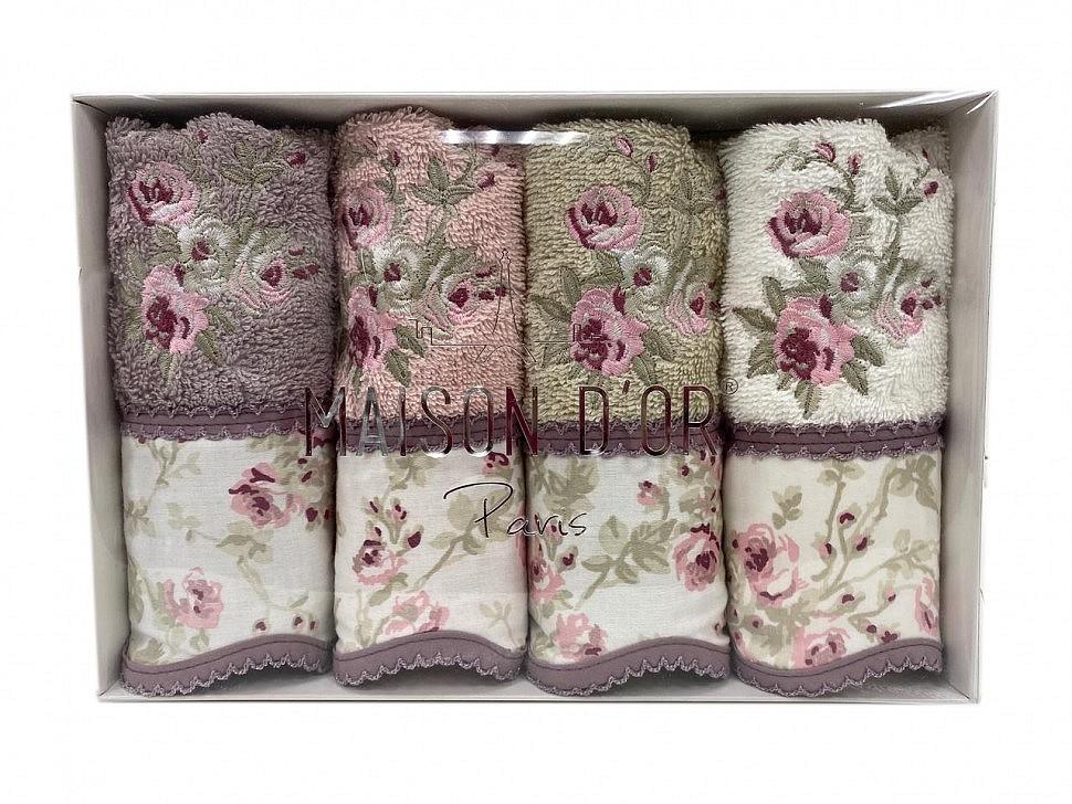 Салфетки махровые Maison D'or Lady Roses фиолетовый/грязно-розовый/бежевый/крем