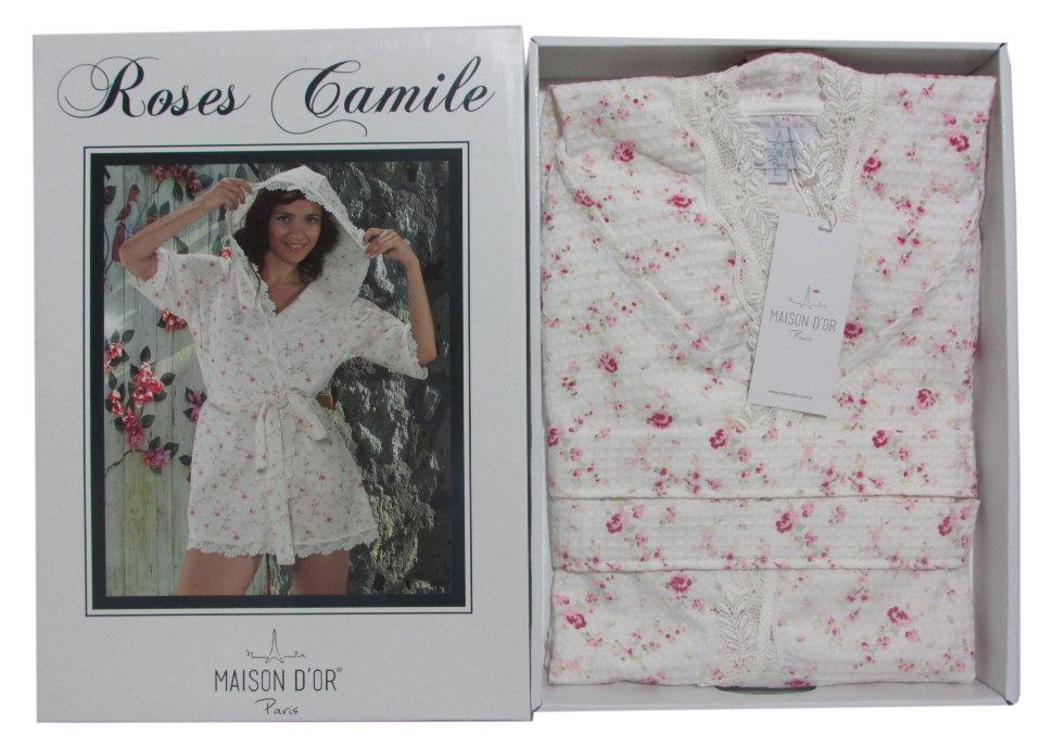ba6a9eb7b89d6 Вафельный халат Roses Camile Maison D'or с капюшоном и с кружевом розовый