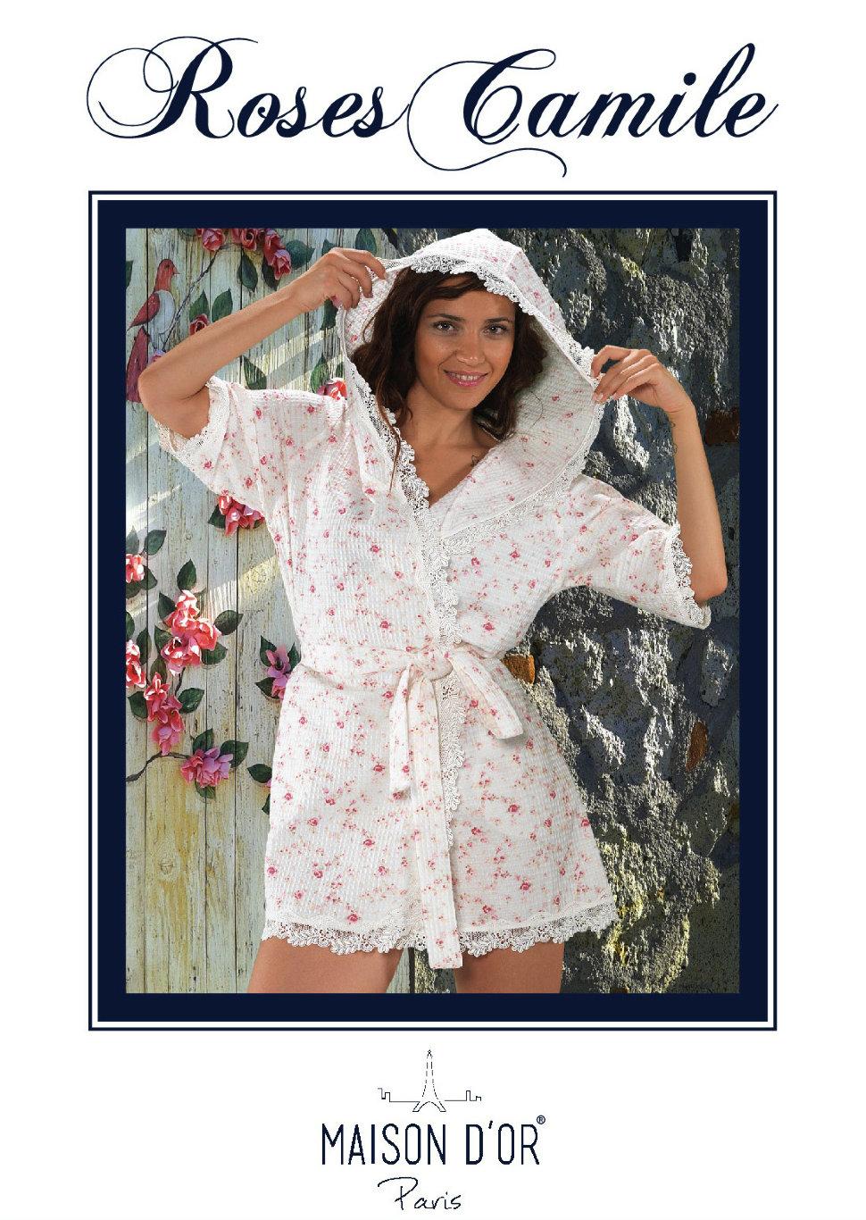 ff2f44e670bc9 ... Вафельный халат Roses Camile Maison D'or с капюшоном и с кружевом  розовый