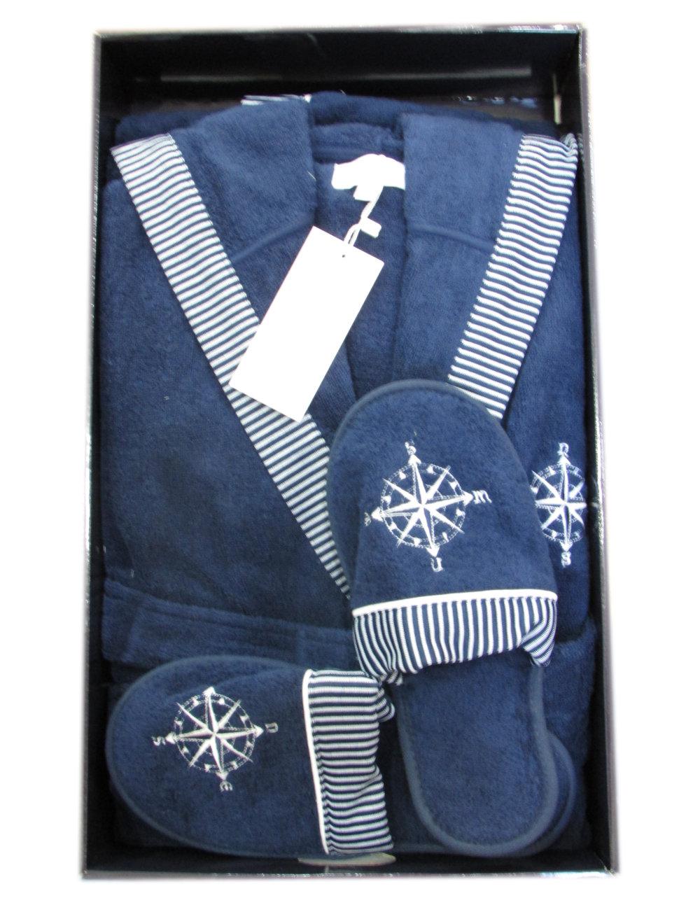 492c42dab5b6 Халат махровый Marine Maison D'or с капюшоном + тапочки синий ...