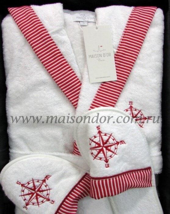 dfe7f2ec1566 Халат махровый Marine Maison D'or с капюшоном плюс тапочки бело-красный