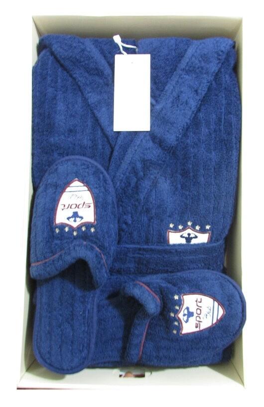 373699e38441 Халат махровый Rodolphe Maison D'or с капюшоном + тапочки синий ...